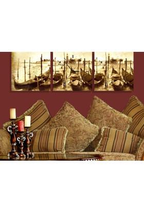 Arse Sandallar Parçalı Dekoratif Tablo Ve Saat 3 Adet 30 x 30 cm