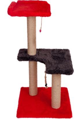 Orijen Kedi Tırmalama (2 Katlı) 45X45X91 Cm (Model No: Selçuk-Kırmızı-Gri)