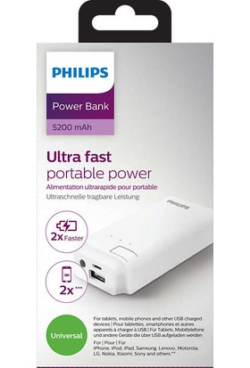 Philips 5200mAh Power Bank 2.1A 1 USB - DLP5205U/10