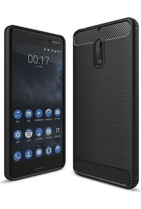 Case 4U Nokia 6 Korumalı Arka Kapak Room Siyah + Cam Ekran Koruyucu