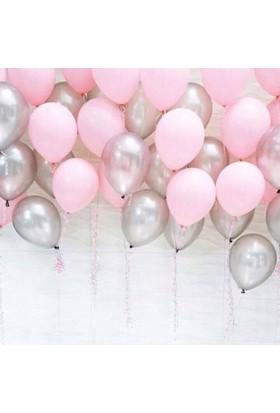 Dunyamagnet Metalik Sedefli (Pembe -Gümüş Karışık) Uçan Balon