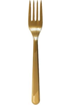 Elitparti Altın Plastik Çatal 10 Adet