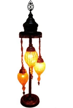 Otantik Osmanlı Dekoratif Çatlak Cam Küçük Çekme Topuzlu 3 Lü Kubbeli Lambader