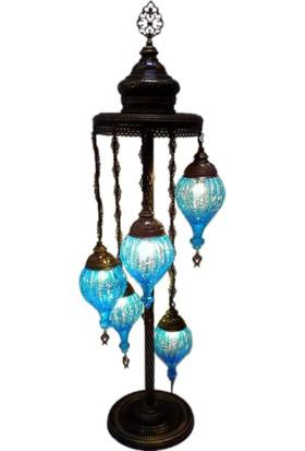 Otantik Osmanlı Dekoratif Çatlak Cam Küçük Çekme Topuzlu 5 Li Kubbeli Lambader