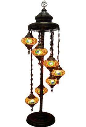 Otantik Osmanlı Dekoratif Mozaik 7 Li Kubbeli Lambader No-2
