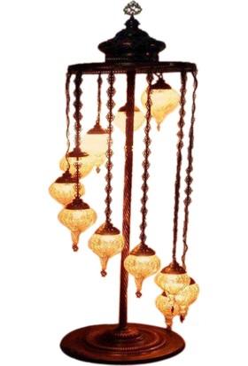 Otantik Osmanlı Dekoratif Çatlak Cam Küçük Çekme Topuzlu 11 Li Kubbeli Lambader Kopya