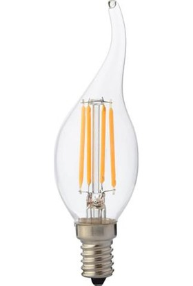 Horoz 4 Watt E-14 Sarı Işık Mum Kıvrık Buji Filament Led Ampul 4W