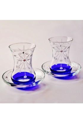Başak İnce Belli Taç Dekor (Mavi) Çay Takımı 12 Parça