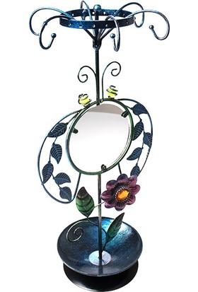 Hunga Çiçek Desenli Aynalı Metal Takı Askılığı