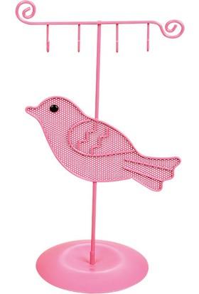 Hunga Pembe Kuş Metal Takı Askılığı