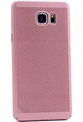 Kny Samsung Galaxy Note 5 Kılıf Delikli Sert Rubber Kapak + - Rose Gold