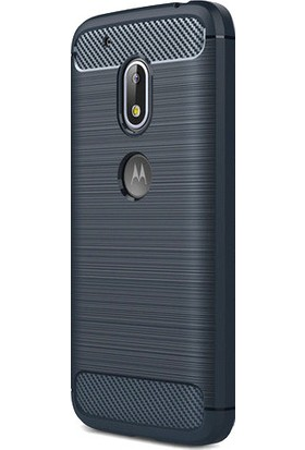 Kny Lenovo Moto G4 Plus Kılıf Ultra Korumalı Room Silikon + - Lacivert