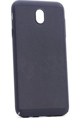 Kny Samsung Galaxy J7 Pro 2017 J730 Kılıf İnce Delikli Rubber Arka Kapak + - Siyah