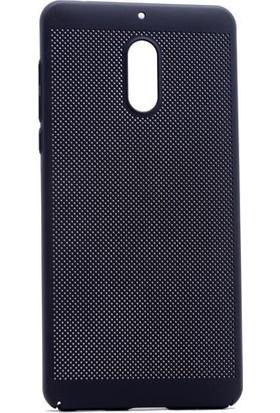 Kny Nokia 6 Kılıf İnce Delikli Sert Arka Kapak Rubber + - Siyah