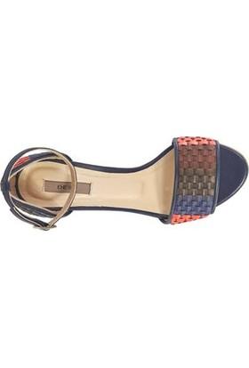 Desa Dotore Örgü Desenli Kadın Topuklu Deri Sandalet