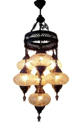 Otantik Osmanlı Dekoratif Çatlak Şeffaf Cam 6+1 Basık Avizeler (No:3)-5307