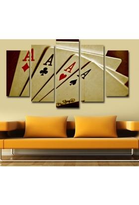 7Renk Dekor Oyun Kağıtları Dekoratif 5 Parça Mdf Tablo