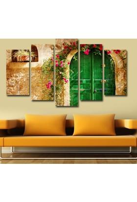 7Renk Dekor Yeşil Kapı Dekoratif 5 Parça Mdf Tablo