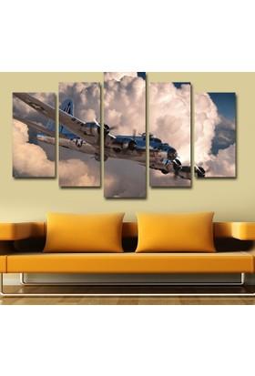 7Renk Dekor Uçak Dekoratif 5 Parça Mdf Tablo