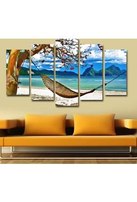 7Renk Dekor Deniz ve Hamak Manzara Dekoratif 5 Parça Mdf Tablo