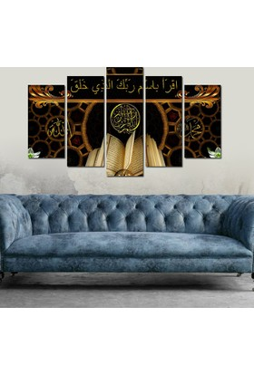 7Renk Dekor Kuran Dini Motifli Dekoratif 5 Parça Mdf Tablo