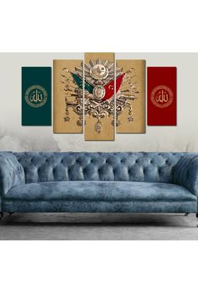 7Renk Dekor Osmanlı Arma Dini Motifli Dekoratif 5 Parça Mdf Tablo
