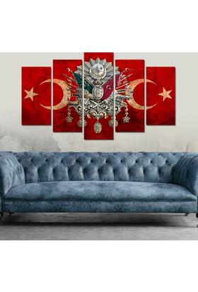 7Renk Dekor Osmanlı Arma Kırmızı Hilal Dekoratif 5 Parça Mdf Tablo