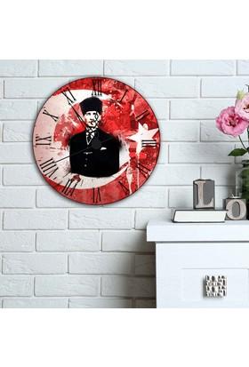 7Renk Dekor Atatürk Dekoratif Duvar Saati