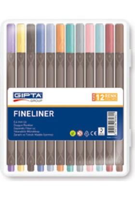 Gıpta 0.4 mm Fineliner Kalem Sert Plastik Kutu 12 Renk