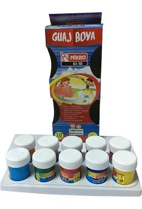 Mikro GJ-10 Guaj Boya 10 Renk 15 ml. Plastik Şişede