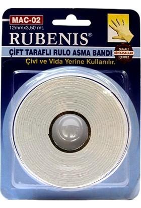Rubenis Çift Taraflı Rulo Asma Bandı 12mmx3,50 mt.