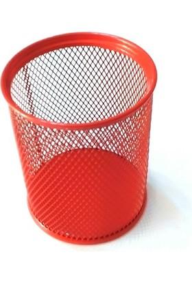 Gıpta Metal Masa Seti Tel Yuvarlak Kalemlik Kırmızı