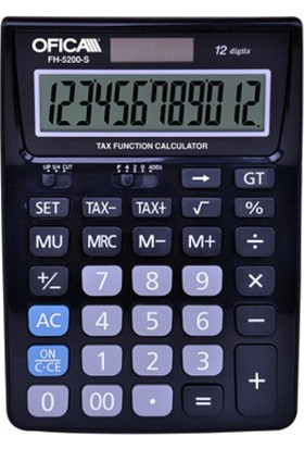 Ofica Hesap Makinesi Masa Tipi 12 Hane Siyah TAX'lı FH-5200-S