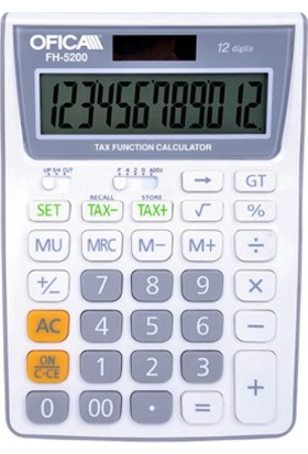 Ofica Hesap Makinesi Masa Tipi 12 Hane Beyaz TAX'lı FH-5200-B