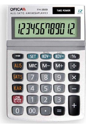 Ofica Hesap Makinesi Masa Tipi 12 Hane FH-3500