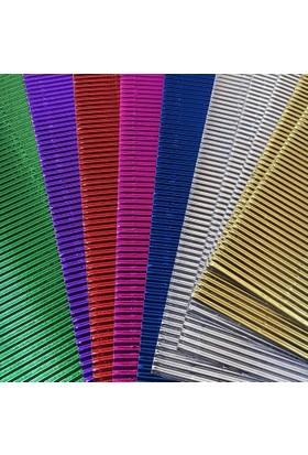 Mikro Metalik Renkli Oluklu Mukavva 10 Adet 7 Renk 23x33 cm