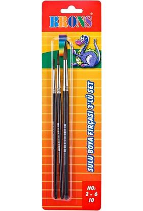 Brons Sulu Boya Fırçası Fırça Seti 3 lü (No: 2-6-10)