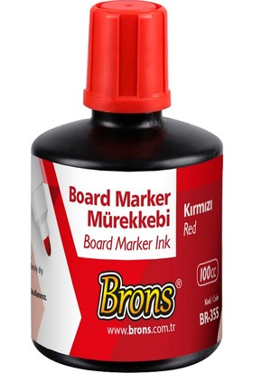 Brons Beyaz Tahta Kalemi Mürekkebi Kırmızı 100 cc. BR-355