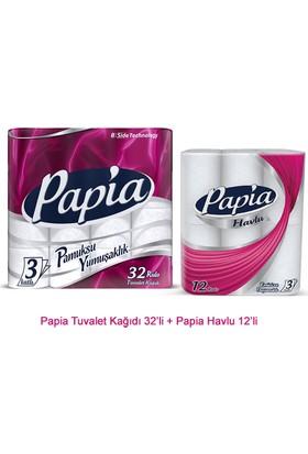 Papia Bs Tuvalet Kagıdı 32'li + Papia Havlu 12'li