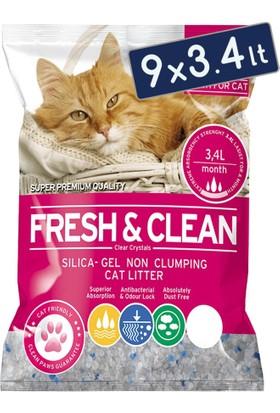 *Fresh - Clean Silika Kristal Kedi Kumu 3.4 Lt 1,4 Kg (9 Adet)