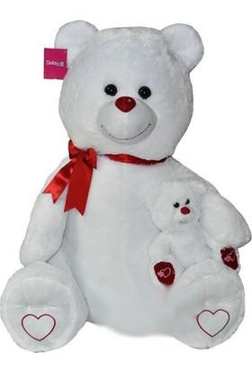 Selay Toys Yavrulu Ayı 100 cm Beyaz 1085B