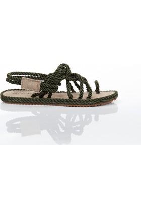 Hasır İp Sandalet - Haki - Ayakkabı Havuzu