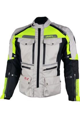 Motosiklet Montu 4 Mevsim. Durt K2 Açık Gri Neon Yeşil