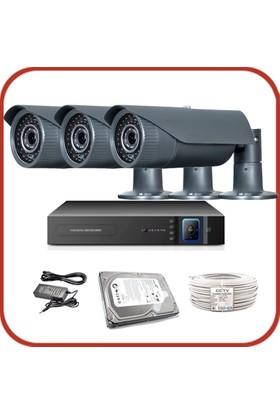 Promax Pro2042S 3'Lü 3 Megapiksel Sony Lens 1080P Aptina Sensör Güvenlik Kamerası Seti