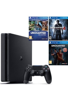 Sony Ps4 Slim 1 Tb Oyun Konsolu + Uncharted Collection + Uncharted 4 + Ps4 Uncharted Kayıp Miras