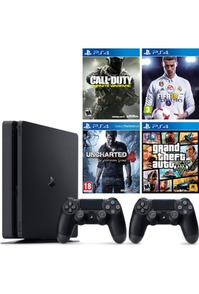 Sony Ps4 Slim 1 Tb Konsol + 2. Ps4 Kol + Call Of Duty Infınıte Warfare + Fifa 18 + Uncharted 4 + Gta 5