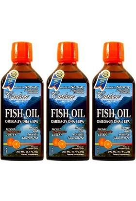 Carlson Fish Oil Omega 3 Balık Yağı Şurubu Portakal Aromalı 200 Ml (3'Lü)