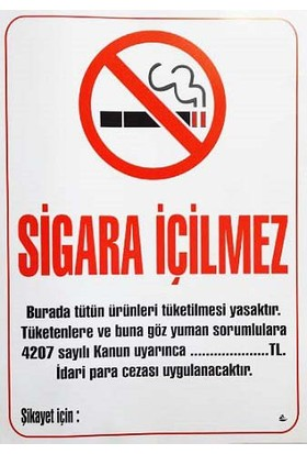 Westyle Sigara İçilmez Levhası 50x70 cm (Karton)
