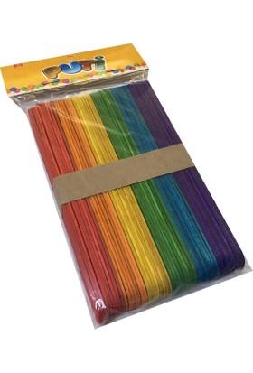 Puti Ahşap Renkli Geniş Dondurma Çubuğu Abeslang (50 adet)