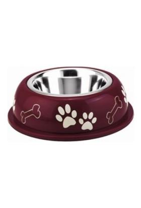 Nobby Renkli Plastik Çelik Hazneli Köpek Mama ve Su Kabı 200 ml Kırmızı